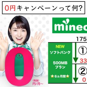 mineo(マイネオ)キャンペーン- どうやって月額0円(半年間)を得る?/NEWソフトバンクプラン-100%オフの驚異!