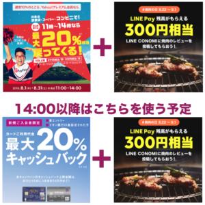 LINEコノミ+ワクワクPayPay or イオンカード:黄金週間の対策(表参道編)